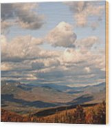 Clouds And Mountains Wood Print