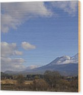 Clouds And Mt Shasta In Autumn Wood Print