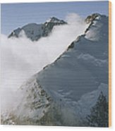 Clouds Drif Through Peaks Of The Queen Wood Print