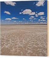 Clouds Float In A Blue Sky Above A Dry Wood Print