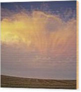 Clouds Over Canola Harvest, Saint Wood Print