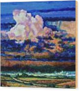 Clouds Over Country Road Wood Print