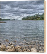 Clouds Over The American River Wood Print