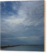 Clouds Over The Jetty Wood Print
