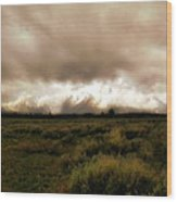 Clouds Over The Tetons Wood Print