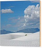 Clouds Over The White Sands Wood Print