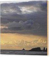 Clouds Over Tillamook Lighthouse Wood Print