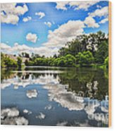 Clouds Reflection On Water Wood Print