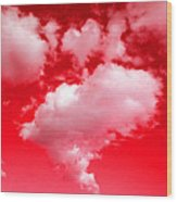 Clouds With Red Sky Wood Print