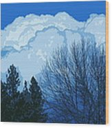 Cloudy Blue Dream Wood Print