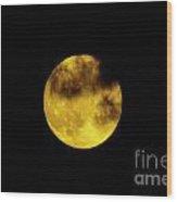 Cloudy Moon Wood Print