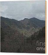 Cloudy Mountain Wood Print