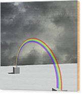Cloudy Sky And Rainbow Wood Print