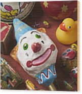 Clown Rattle And Old Toys Wood Print by Garry Gay