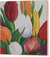 Cluster Of Tulips Wood Print