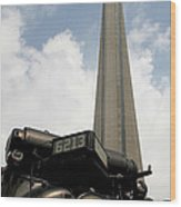 Cn Tower And Train Wood Print