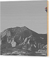 Co Rocky Mountain Front Range Hot Air Balloon View Bw Wood Print