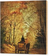 Coach On A Road In Autumn Wood Print