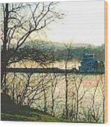 Coal Barge In Ohio River Mist Wood Print