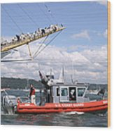Coast Guard With Tall Ships Wood Print