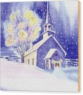 Coastal Church Christmas Wood Print
