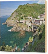 Coastal Railway Tunnel In Italian Village Wood Print by Wx Photography