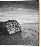Coastal Scene Bw Wood Print