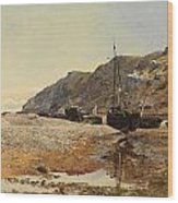 Coastal Scene Wood Print by Henry Moore