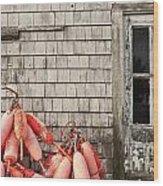 Coastal Shanty And Buoys. Wood Print