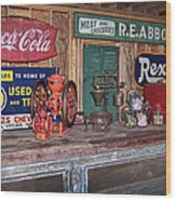 Coca Cola - Rexall - Ok Used Tires Signs And Other Antiques Wood Print