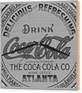 Coca Cola Clock In Black And White Wood Print