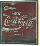 Coca Cola Green Red Grunge Sign Wood Print