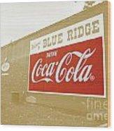 Coca-cola Sepia Wood Print