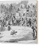 Cock Fighting, 1866 Wood Print