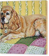 Cocker Spaniel On Quilt Wood Print
