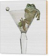 Cocktail Frog Wood Print