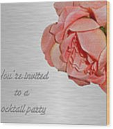 Cocktail Party Invitation - Fabric Rose Wood Print