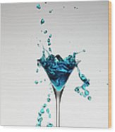 Cocktail Splashing Around Martini Glass Wood Print