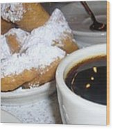 Coffee And Beignets French Quarter New Orleans Wood Print