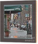 Coffee And Rain In Seattle Wood Print
