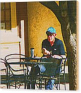 Coffee At The Outdoor Cafe Wood Print