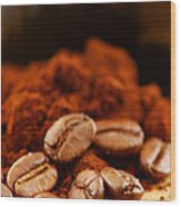 Coffee Beans And Ground Coffee Wood Print by Elena Elisseeva