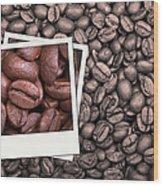 Coffee Beans Polaroid Wood Print