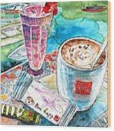 Coffee Break In Agios Nikolaos In Crete Wood Print