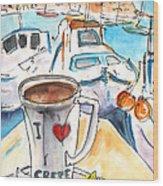 Coffee Break In Heraklion In Crete Wood Print