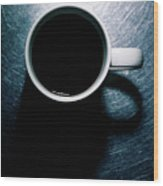 Coffee Cup On Stainless Steel. Wood Print