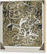 Coffee Flowers 1 Olive Scrapbook Wood Print