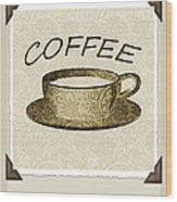 Coffee Flowers 1 Olive Scrapbook Triptych Wood Print