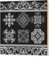 Coffee Flowers Ornate Medallions Bw 6 Piece Collage Framed  Wood Print