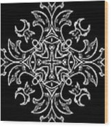 Coffee Flowers Ornate Medallions Bw Vertical Tryptych 1 Wood Print
